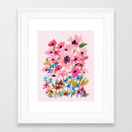 Peachy Wildflowers Framed Art Print