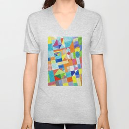 Playful Colorful Architectural Pattern Unisex V-Neck