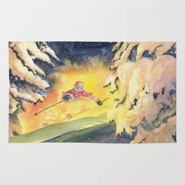 Skiing Art Rug