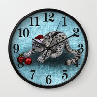 snow leopard Wall Clocks featuring Snow Leopard by Anna Shell