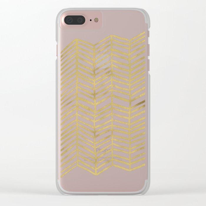 Gold Herringbone Clear iPhone Case