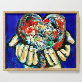 painted heart Serving Tray