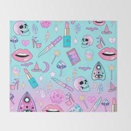 Girly Pastel Goth Witch Pattern Throw Blanket