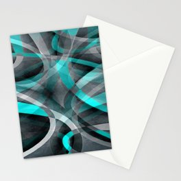 Eighties Turquoise and Grey Arched Line Pattern Stationery Cards