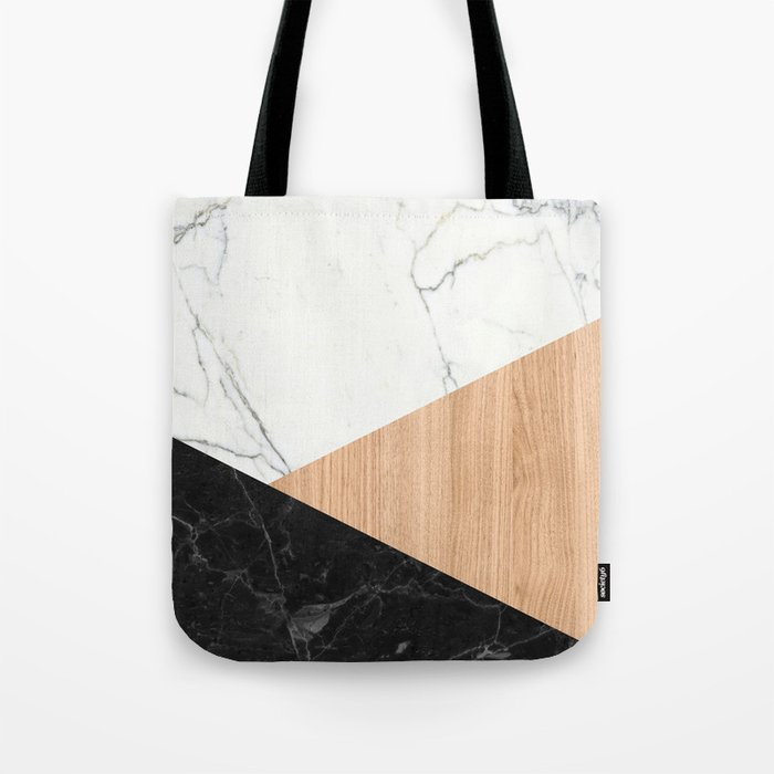 Marble and Wood Abstract Tote Bag