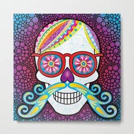 Sugar Skull (Mustachio) Metal Print