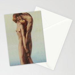 'Les Deux Amoureux au bout du Monde' Art Deco Female and Male Portrait Painting Stationery Cards