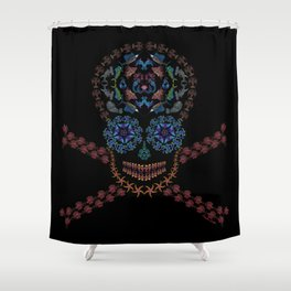 Marine Creatures Skull Shower Curtain