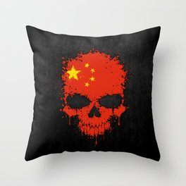 Flag of China on a Chaotic Splatter Skull Throw Pillow
