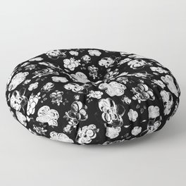 Black and White beaded flower print by Annalee Beer Floor Pillow