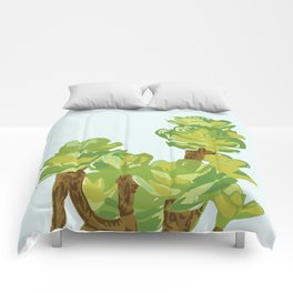 Portylacaria Afra Succulent Blue and Green Comforters