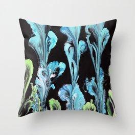 Blue Iris Flowers Throw Pillow