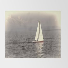 Sailing boat on the lake Throw Blanket