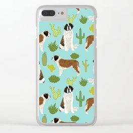 Saint Bernard dog breed pet friendly cactus southwest unique dog gifts Clear iPhone Case