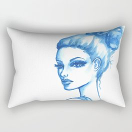 Fashion Illustration: Blue Drape Rectangular Pillow