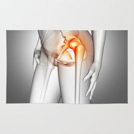 3D female medical figure with hip bone highlighted Rug