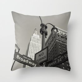 Broadway & West 34th St. - N.Y.C. - Empire St. Bldg.  Throw Pillow