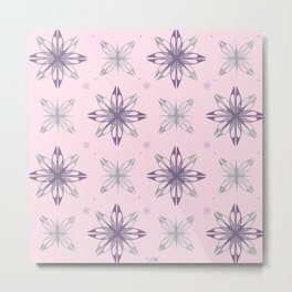 Pastel silver star crystals pattern Metal Print