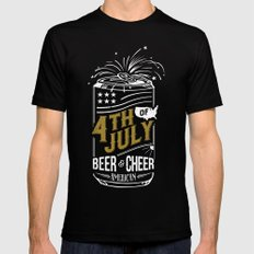 Typography Beer - Fourth of July Mens Fitted Tee MEDIUM Black