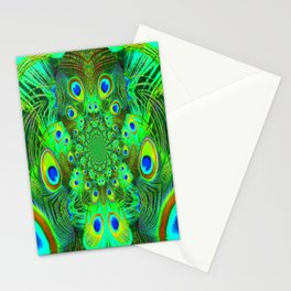 Ornate Green-Gold-Purple Peacock Feathers Art Stationery Cards