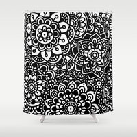 zentangle Shower Curtains featuring Zentangle by Pato Silveira