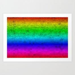 Bright Neon Rainbow Color Wheel Spectrum Brick Wall Art Print