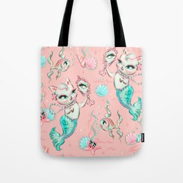 Merkittens with Pearls on blush Tote Bag