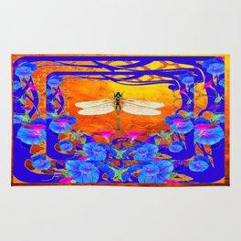 Blue Morning glories Dragonfly Golden Surreal Art Rug