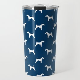 Airedale Terrier navy and white minimal dog pattern dog silhouette pattern Travel Mug