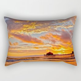 California Dreaming (cropped) ~ Huntington Beach Pier Rectangular Pillow