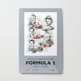 Formula 1 World-Champion from 1950 to 1959 Metal Print