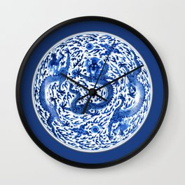 Antique Chinese Porcelain Plate, Cobalt Blue Dragons Wall Clock
