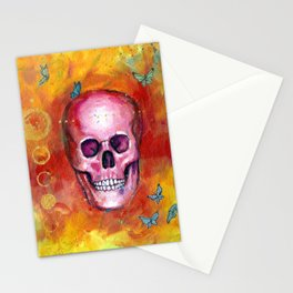 Pink Skull and Butterflies Stationery Cards