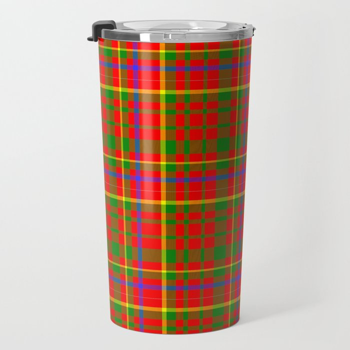 Tartan Vibrant Red Green and Blue Travel Mug