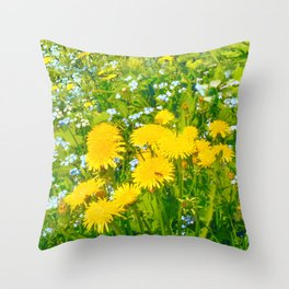 Summer meadow dandelions field Throw Pillow