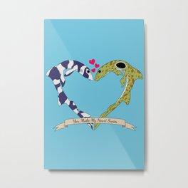 Shark Bros in Love Metal Print