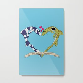 Shark Bros in Love Metal Print