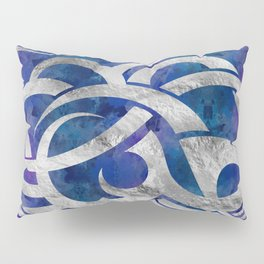 Abstract Maori curve shapes - Silver & Purple Pillow Sham