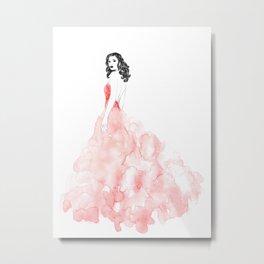 Fashion illustration pink long gown Metal Print