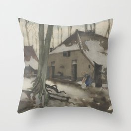 Woman in front of a house in a snowy forest, Willem Witsen, 1870 - 1923 Throw Pillow