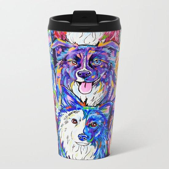 Collies in Colour Metal Travel Mug