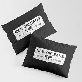 New OrleansLouisiana Map GPS Coordinates Artwork Pillow Sham