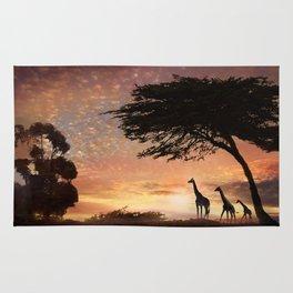Purple Safari Sunset- giraffe family Rug