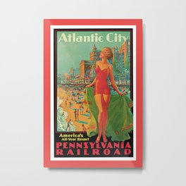 Atlantic city vintage bathing beauty Metal Print