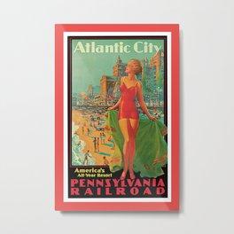 Atlantic city vintage bathing beauty Metal Print