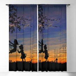 Adorable Small Children Playing In Backyard Shadow Lovely Evening Red UHD Blackout Curtain