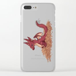 Baby Dragon & His Treasure Clear iPhone Case