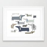 daschund Framed Art Prints featuring Weiner Dog Pattern by Taylor Engelsman