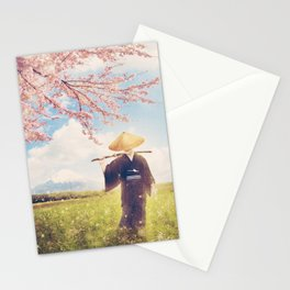 The warrior under the sakura tree Stationery Cards
