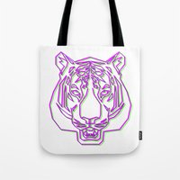 rave Tote Bags featuring Tiger Rave by James Thornton